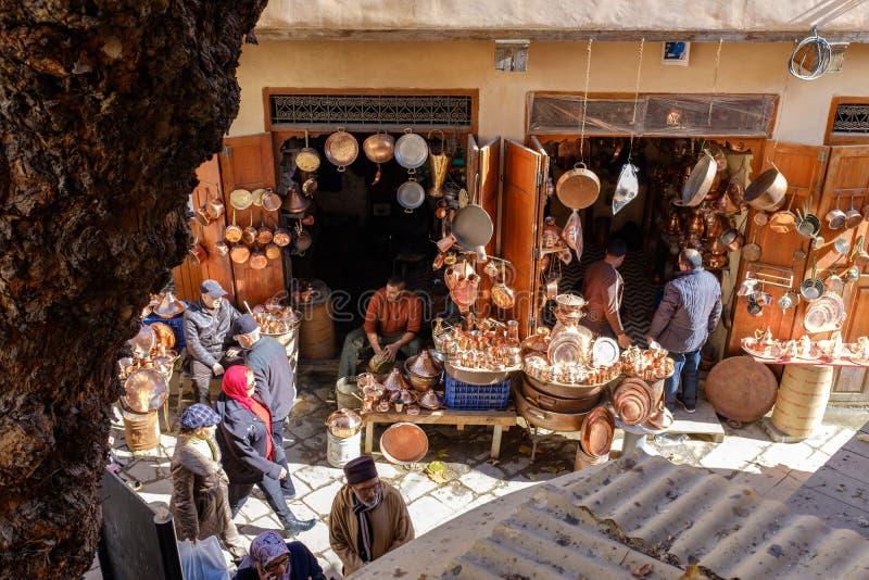 Mercados tradicionais no fez do centro imagem de stock royalty free