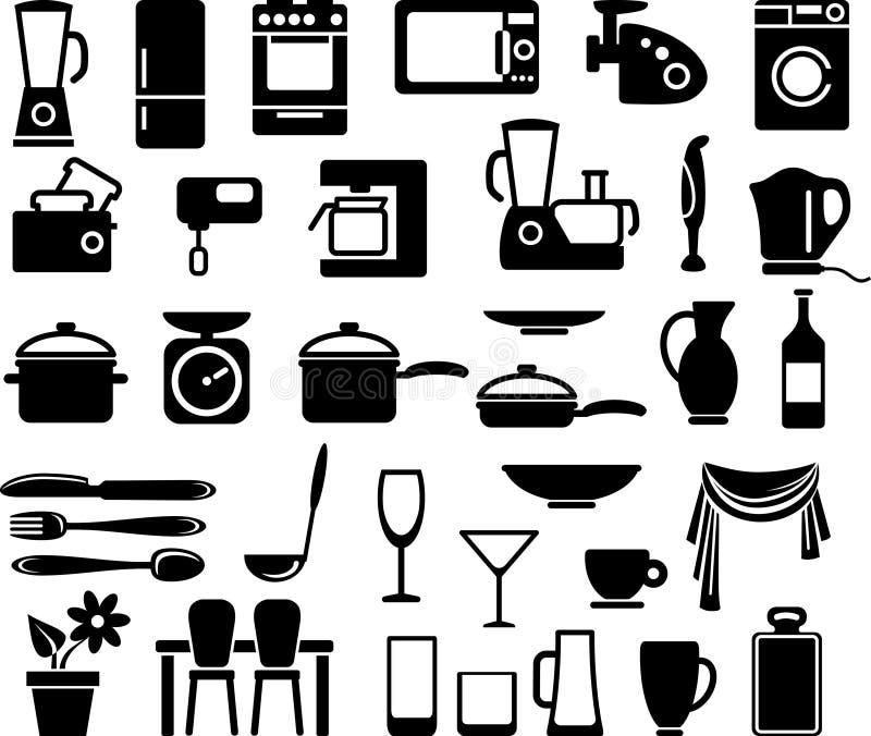 Mercancías de la cocina y aparatos electrodomésticos ilustración del vector