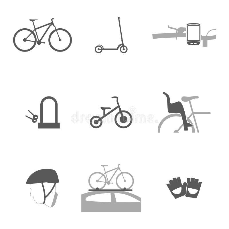 Mercancías de los accesorios para los iconos de ciclo de la silueta libre illustration