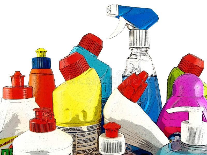 Mercancías del producto químico de hogar ilustración del vector