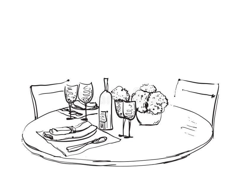 Mercancías dibujadas mano Cena romántica para dos ilustración del vector