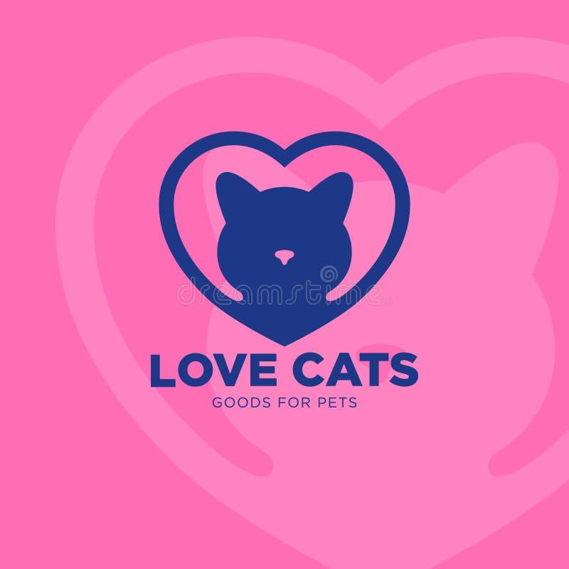 Mercancías para el emblema de los animales domésticos Logotipo de la clínica del veterinario Gato y corazón en fondo rosado ilustración del vector