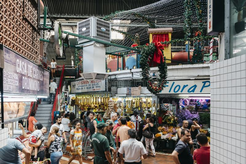 Mercardo中央是一个活泼的室内市场在贝洛奥里藏特,巴西 图库摄影