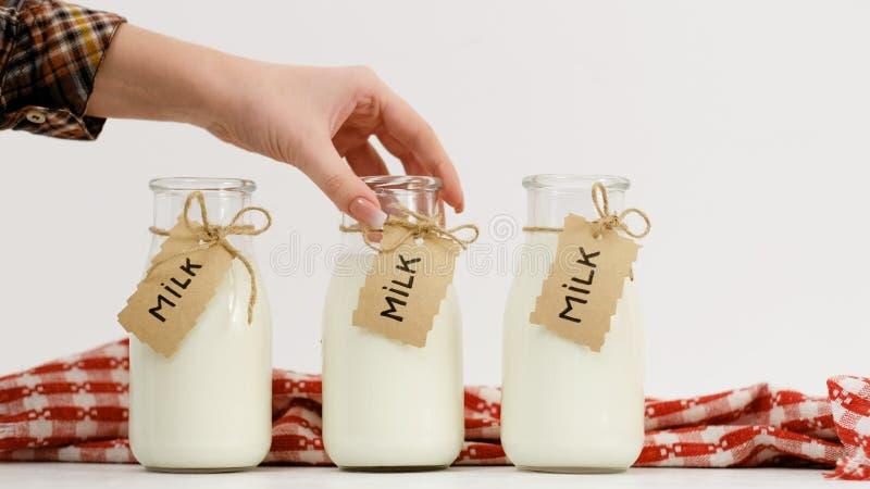 Mercati freschi dell'assortimento delle bottiglie per il latte fotografia stock