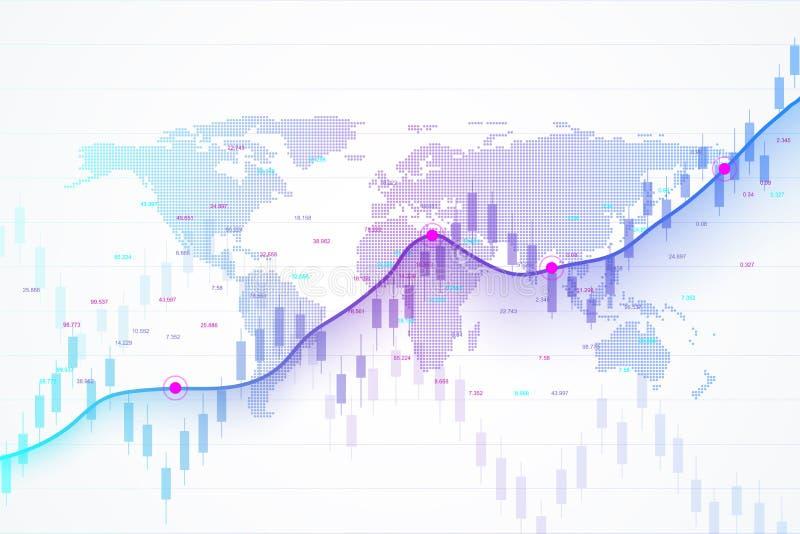 Mercato azionario e scambio Esamini in controluce il grafico del grafico del bastone del commercio di investimento del mercato az illustrazione di stock