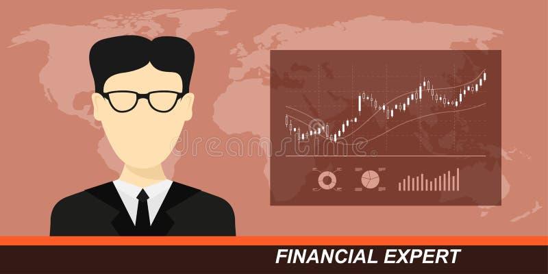 Mercato azionario ed esperto finanziario illustrazione di stock