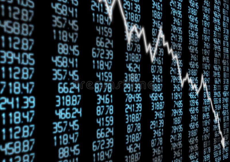 Mercato azionario giù illustrazione di stock