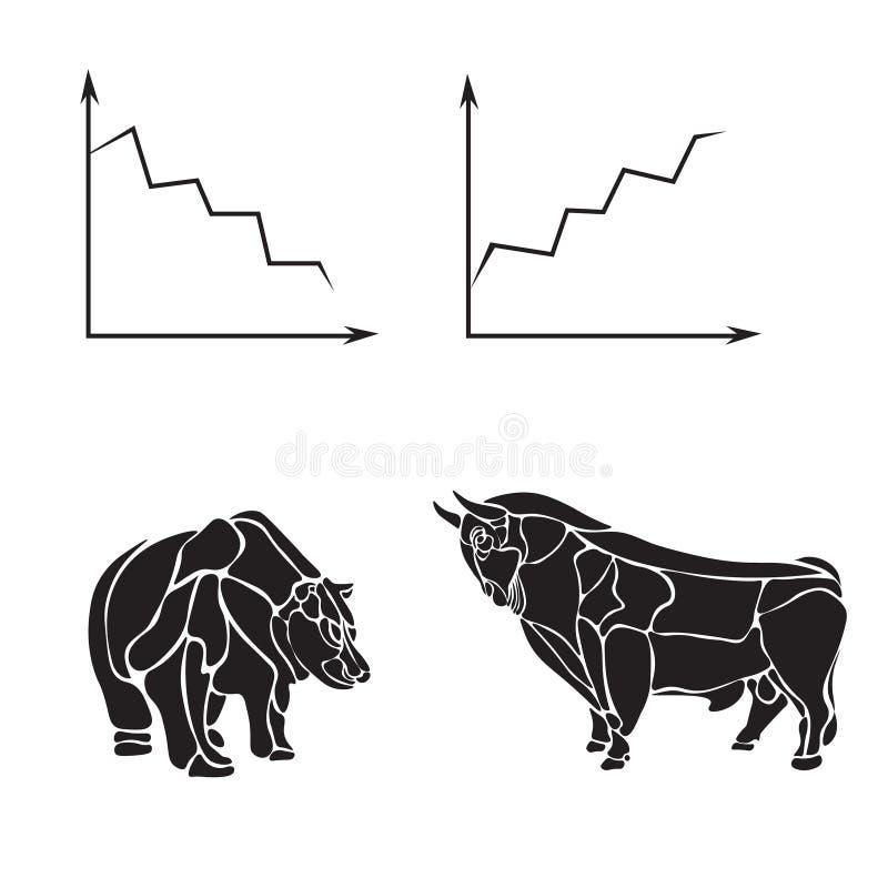 Mercato azionario, modello di progettazione di logo di vettore di affari soldi, attività bancarie o toro ed icona dell'orso Illus royalty illustrazione gratis