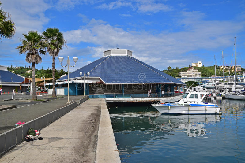 Mercato bagnato di mattina di Noumea accanto al porto di porto Mosella, Nuova Caledonia fotografie stock