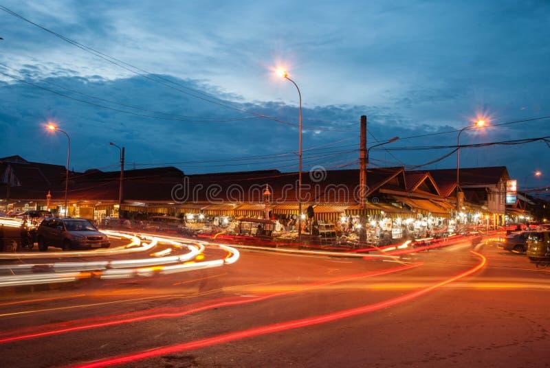 Mercato Cambogia di notte immagine stock
