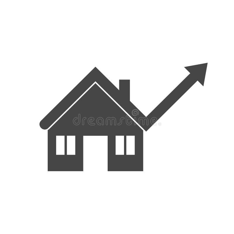 Mercato degli alloggi in aumento, crescita di prezzo della casa illustrazione di stock