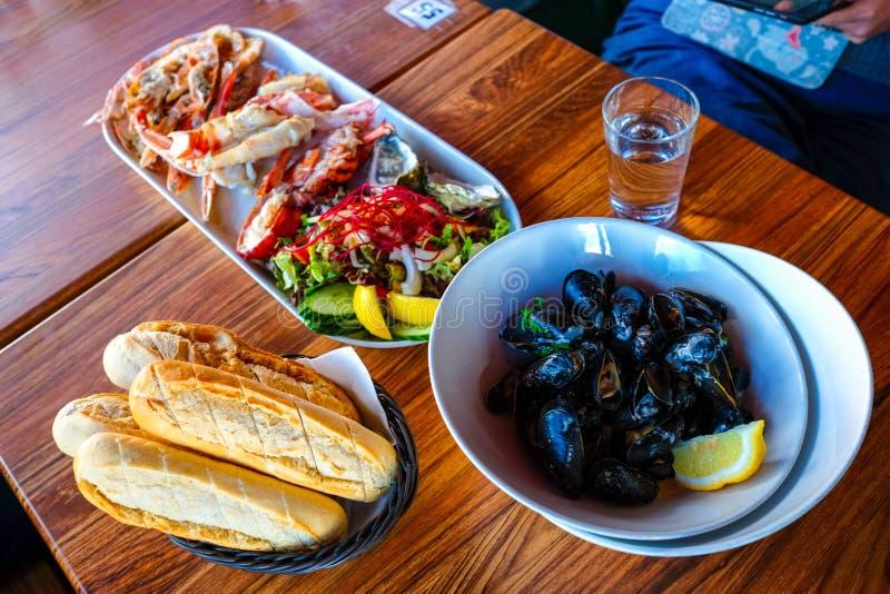 Mercato dei frutti di mare in Bergen City Norway fotografia stock libera da diritti