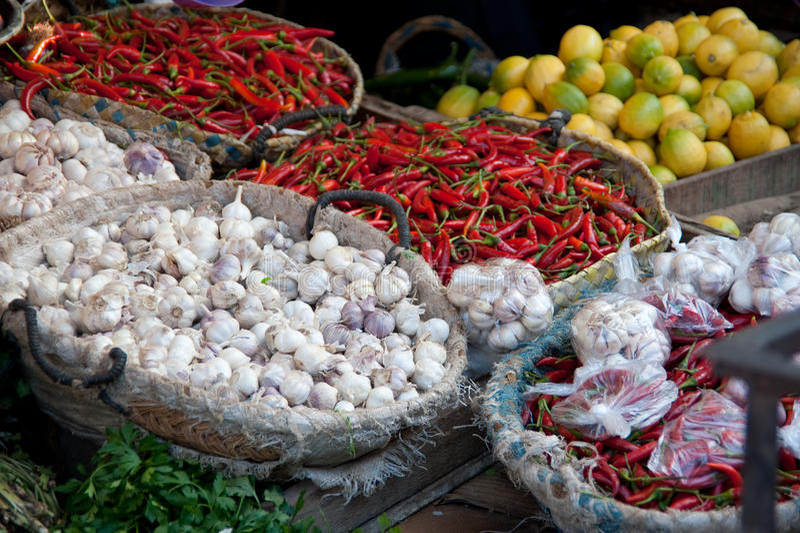 Mercato dell'alimento nel Marocco immagini stock libere da diritti