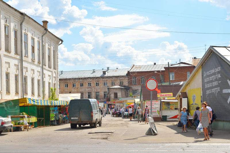 Mercato della città della parte centrale di Vologda immagini stock