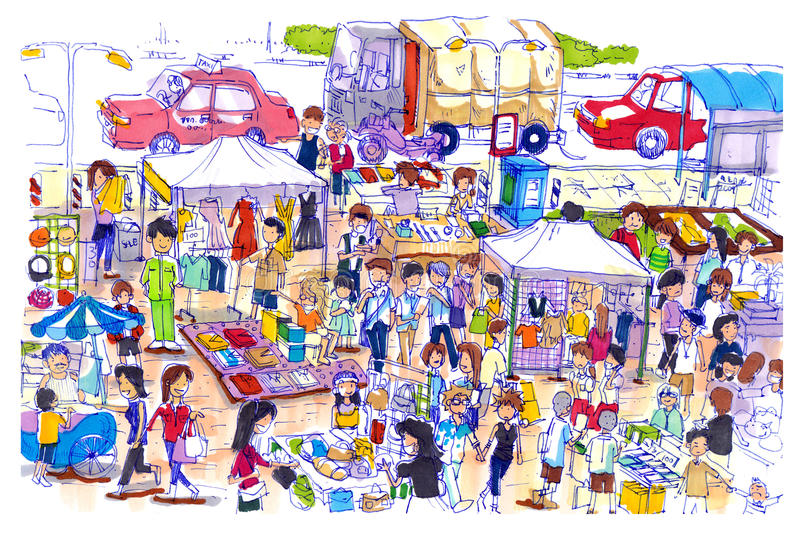 Mercato delle pulci vivace e variopinto in Asia royalty illustrazione gratis