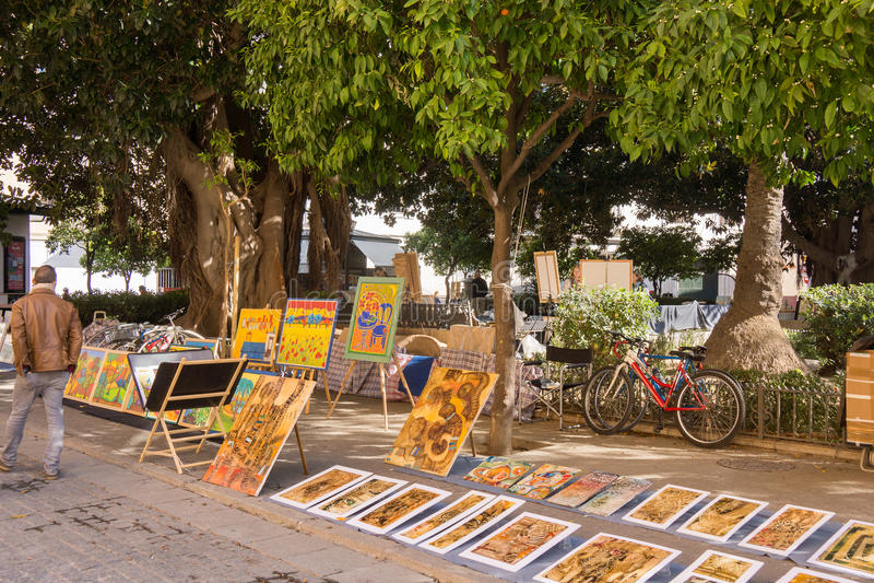 Mercato di arte del distretto Siviglia, Spagna del museo fotografie stock