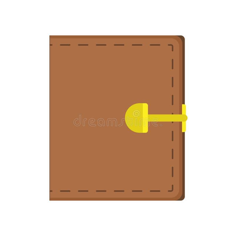 Mercato di attività bancarie di commercio dell'icona di vettore del segno dei soldi del portafoglio Affare di cuoio piano della t illustrazione di stock