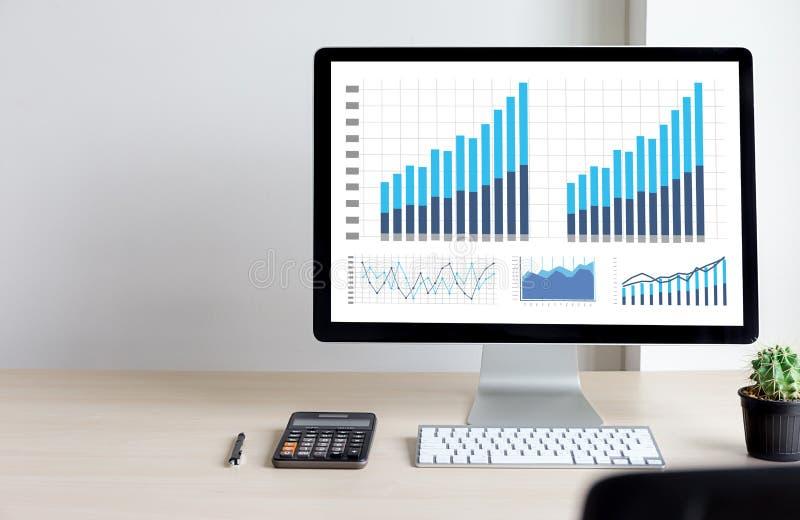 Mercato di aumento di crescita del diagramma di dati di gestione di analisi di statistiche fotografie stock