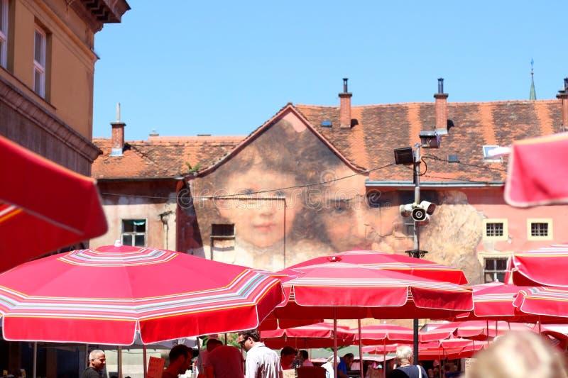 Mercato di Dolac, Zagabria, Croazia fotografia stock libera da diritti
