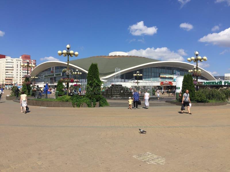 Mercato di Komarovsky a Minsk Bielorussia immagine stock