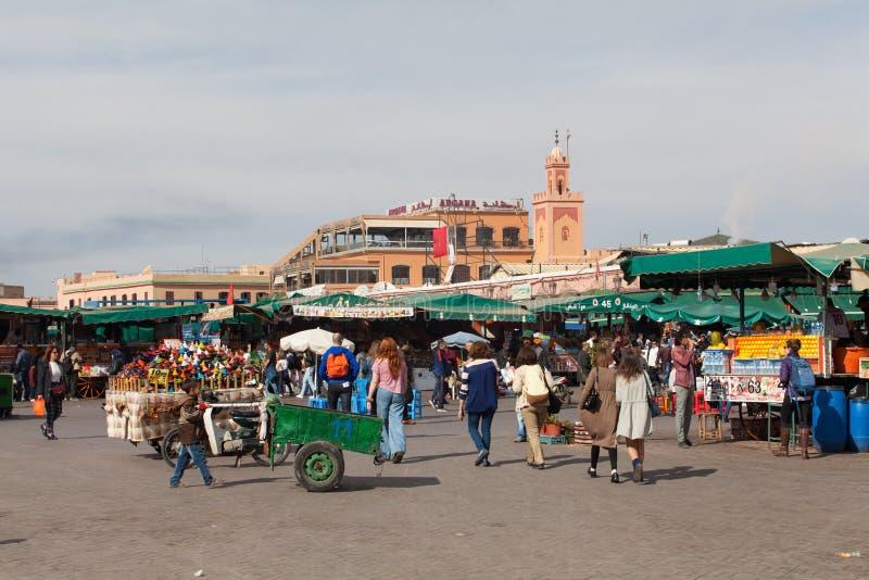 Mercato di Marrakesh di mattina fotografie stock libere da diritti