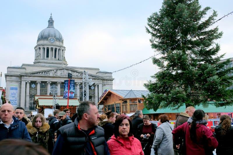 Mercato di Natale e della sala del consiglio, Nottingham immagini stock
