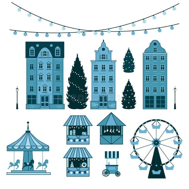 Mercato di Natale di inverno, buon anno e città giusti di Europa di Natale, stalle del ricordo, negozi di regalo, ruota panoramic illustrazione di stock