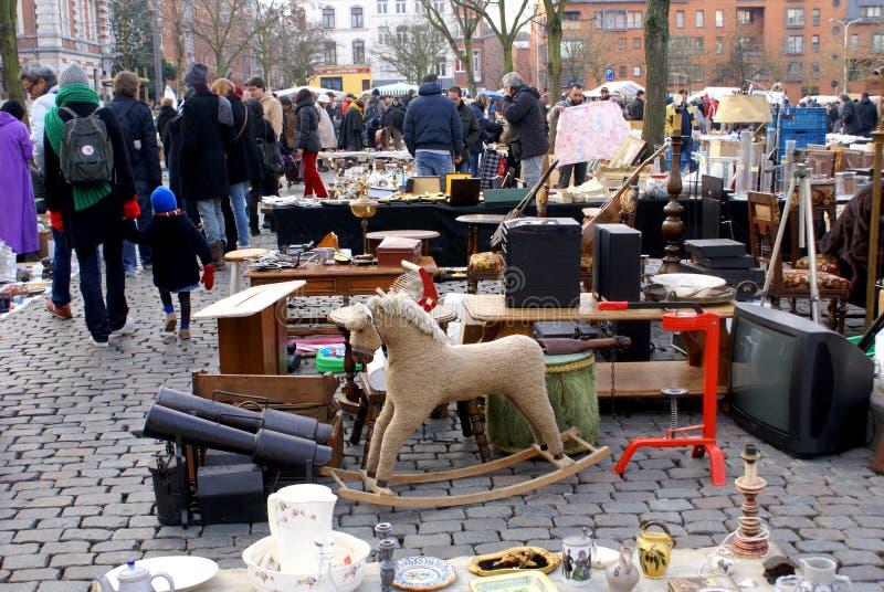 Mercato di pulce di Bruxelles. fotografia stock