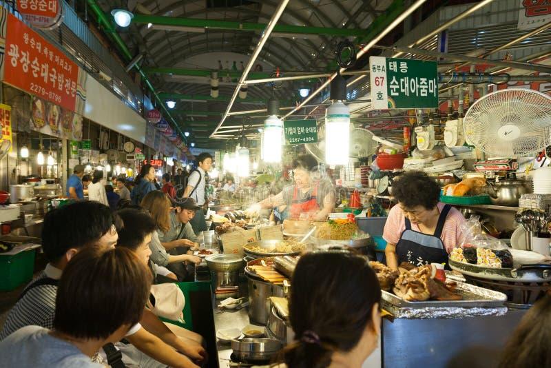 Mercato di strada di Gwangjang, Seoul fotografie stock libere da diritti