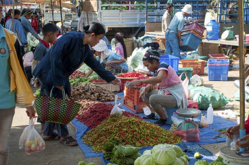 Mercato di verdura e della frutta, Savannakhet, Laos immagine stock
