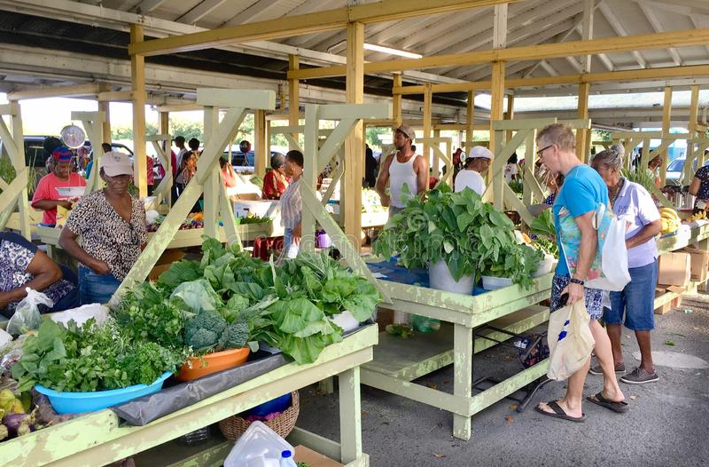 Mercato di verdure in Isole Vergini americane di St Croix caraibiche fotografia stock libera da diritti