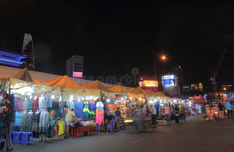 Mercato Ho Chi Minh City Vietnam di notte di Ben Thanh immagine stock libera da diritti