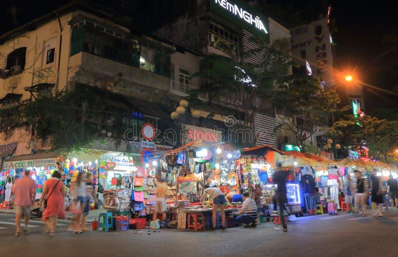 Mercato Ho Chi Minh City Vietnam di notte di Ben Thanh immagine stock