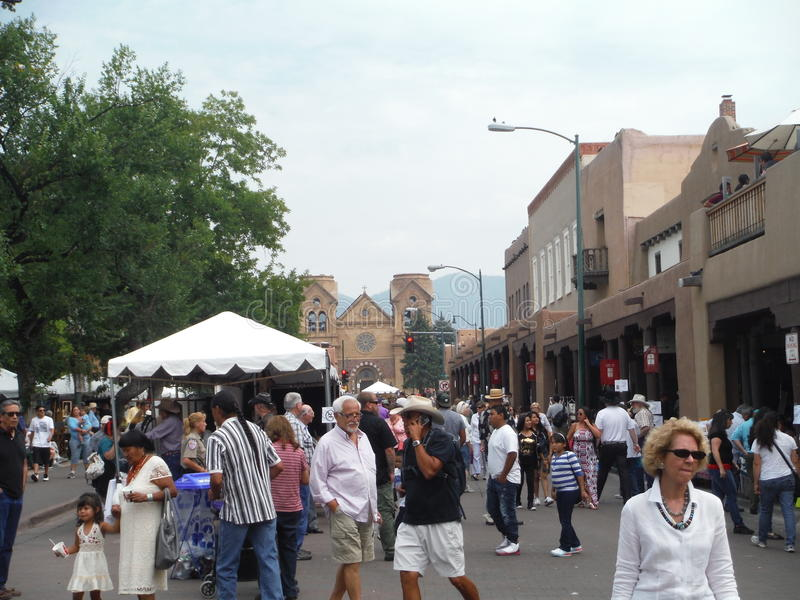 Mercato indiano 2015 di Santa Fe Plaza New Mexico immagine stock