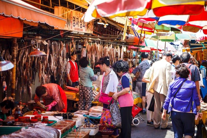 Mercato ittico all'aperto di Jagalchi, Busan, Corea immagini stock libere da diritti