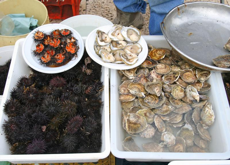 Mercato ittico dell'alimento della via fotografia stock