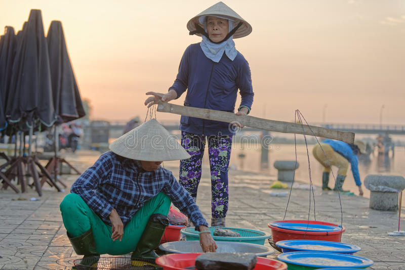 Mercato ittico in Hoi An fotografia stock libera da diritti