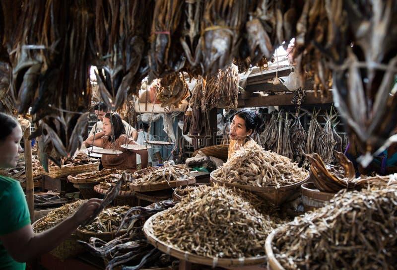 Mercato ittico in Sittwe, Myanmar immagine stock libera da diritti