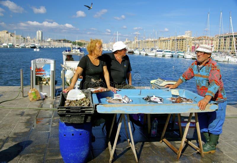 Mercato ittico, vecchio porto Marsiglia fotografia stock