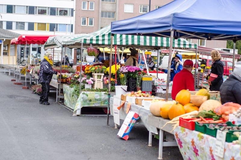 Mercato libero a Tampere Finlandia immagine stock libera da diritti