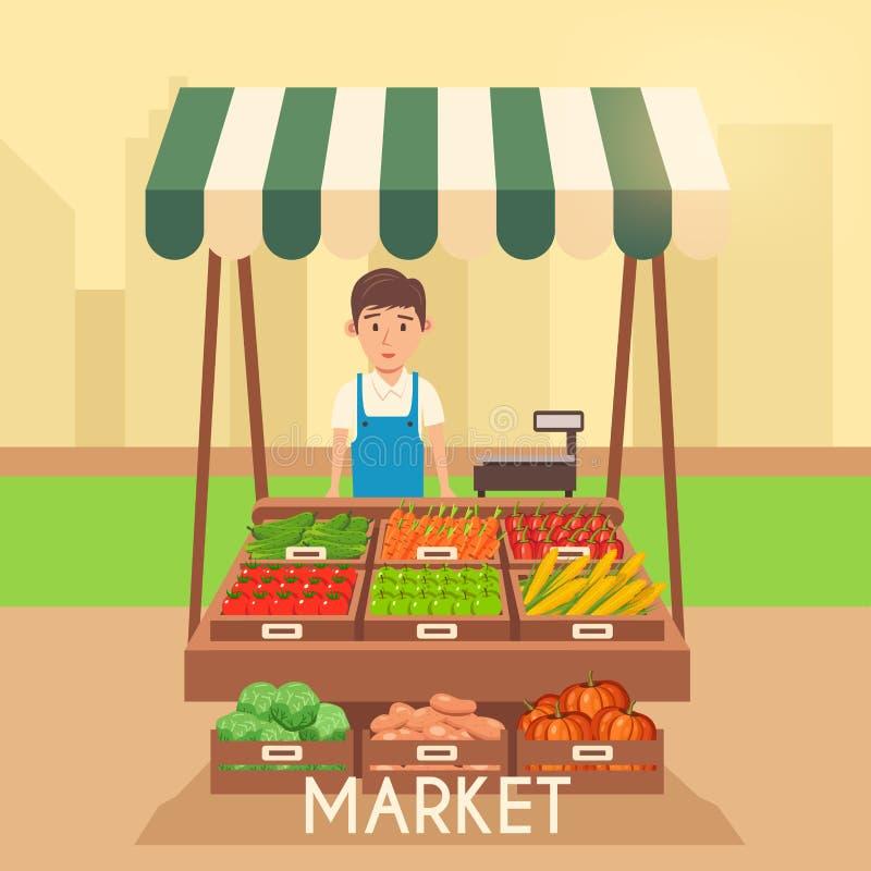 Mercato locale della stalla Vendita delle verdure Illustrazione piana di vettore illustrazione vettoriale