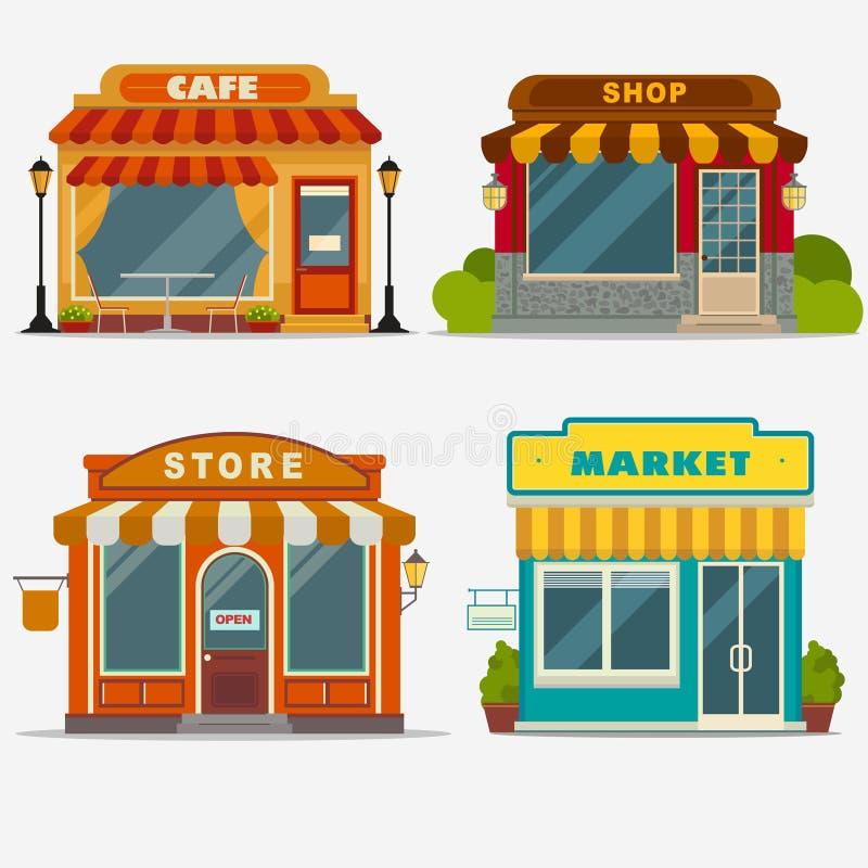 Mercato, negozio della via, parte anteriore del piccolo deposito illustrazione di stock