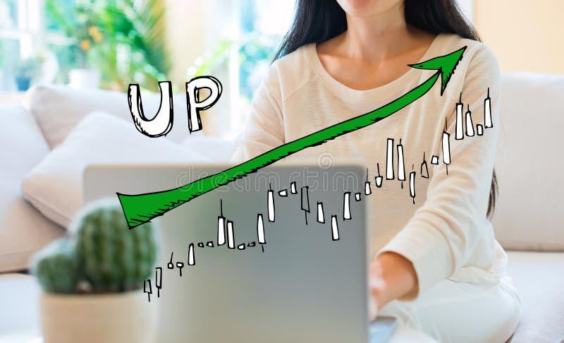 Mercato sul grafico di tendenza con la donna che per mezzo del suo computer portatile fotografie stock libere da diritti