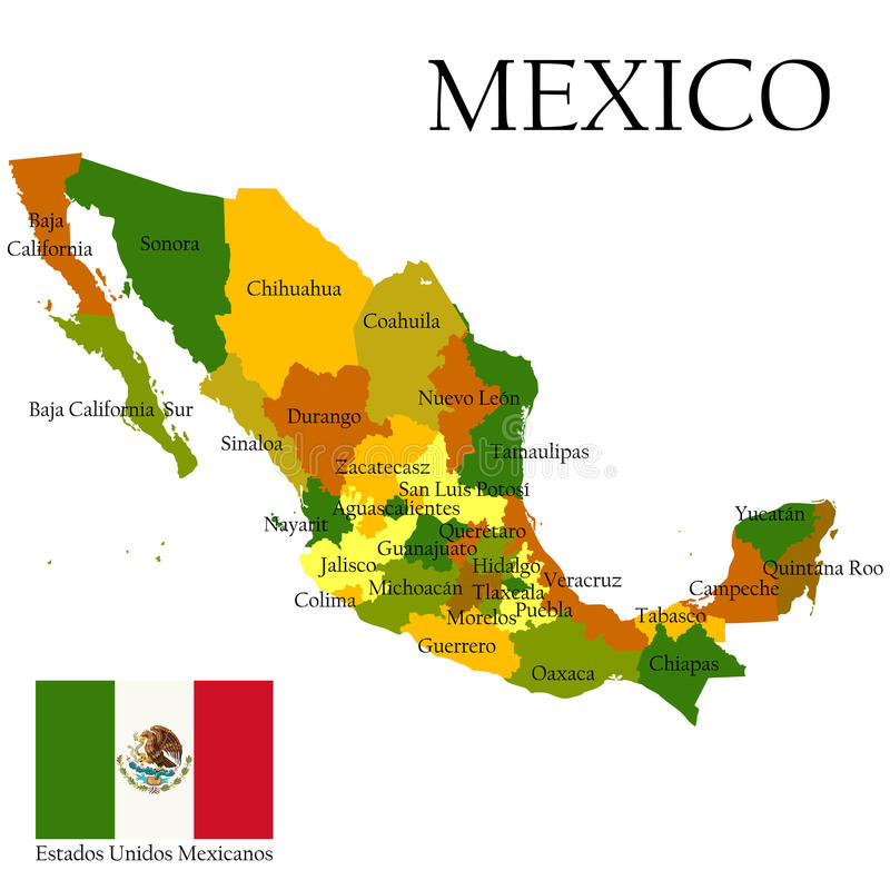 mexico united states of administrative map and flag