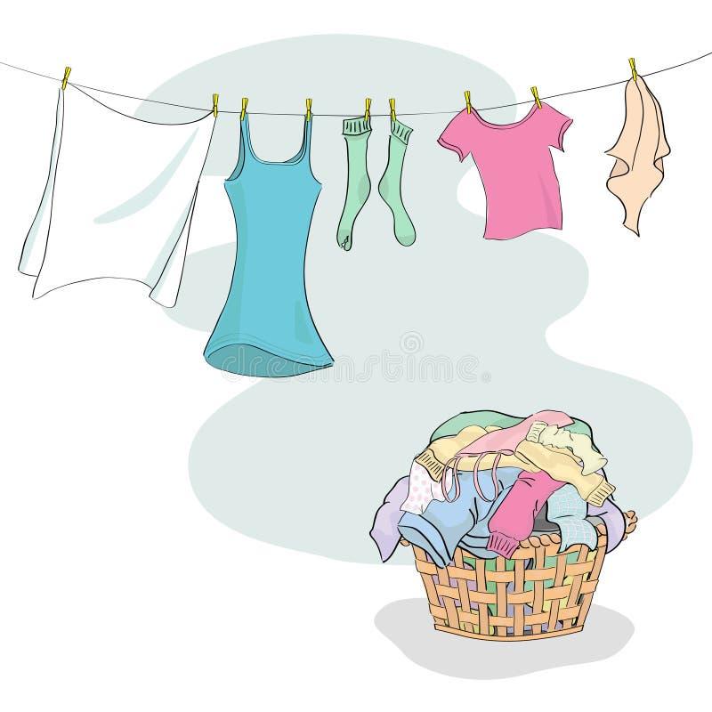 Merce nel carrello della lavanderia ed appendere sul lavare linea illustrazione di stock