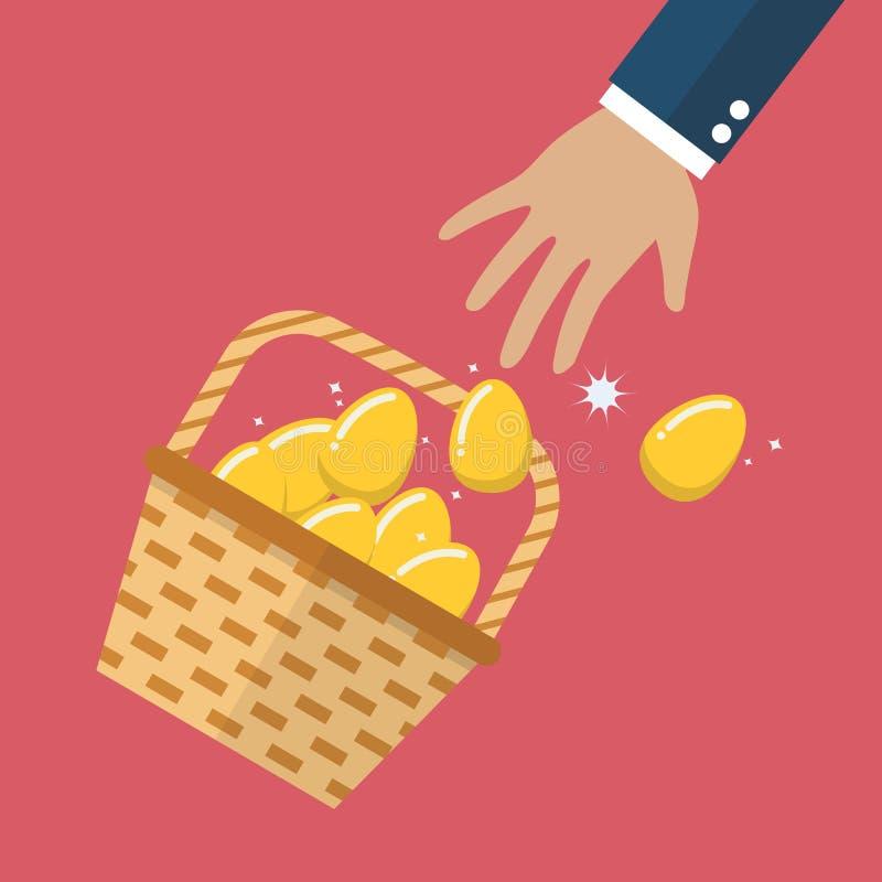Merce nel carrello dorata delle uova scivolata fuori della mano illustrazione vettoriale