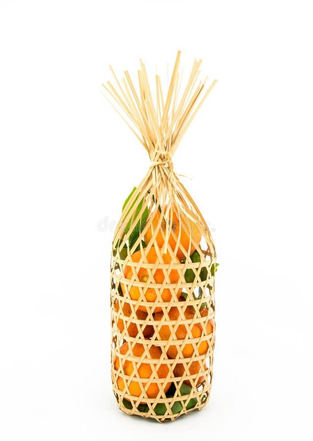 Merce nel carrello tailandese delle arance fotografia stock