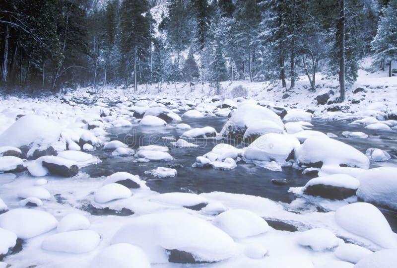 Merced River in Winter, Yosemite National Park, California stock photography