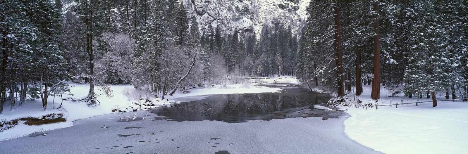 The Merced River In Winter, Yosemite National Park, California royalty free stock image