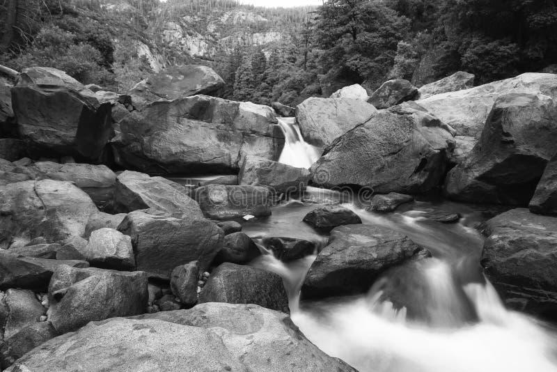 Merced River at Yosemite Park - long exposure stock image